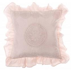 """Coussin """"Pastel Rose"""" brodé avec volants 45 x 45 cm"""
