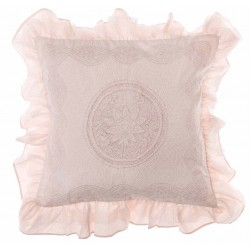 "Embroidered ""Pastel Rose"" cushion with flounces 45 x 45 cm"
