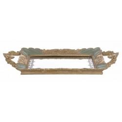 Rectangular antique green and gold presentation tray Cavaliere della rosa