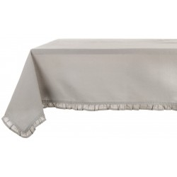 Light grey tablecloth with small ruffles 150 x 240 cm