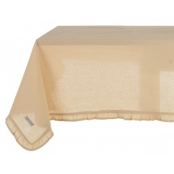 Natural tablecloth with small ruffles 150 x 240 cm