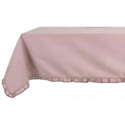 Nappe rose pale avec petits volants 150 x 240 cm