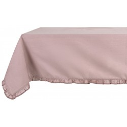Pale pink tablecloth with small ruffles 150 x 240 cm