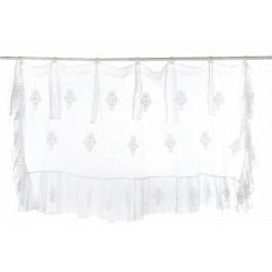 White valance with ties 150 x 45 cm