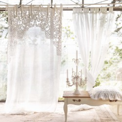 """""""Imperial"""" curtain in embroidered linen 150 x 290 cm with knots"""