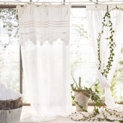 """""""Butterfly"""" curtain in embroidered linen 150 x 290 cm with knots"""