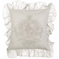 """Embroidered """"Pastel Rose"""" cushion with flounces 45 x 45 cm"""
