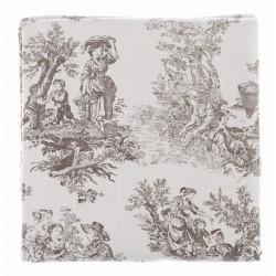 """Nappe / couvre lit """"Toile de Jouy"""" 180 x 240 cm en coton"""