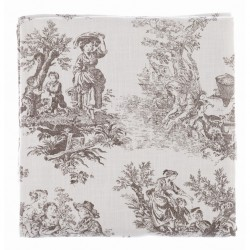 "Table cloth / throw ""Toile de Jouy"" 180 X 240 cm in cotton"