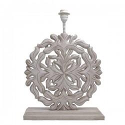 Pied de lampe plat cérusé au motif mandala