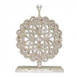 White flat lamp base with the pattern of oak leaves