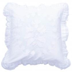 Coussin blanc 45 x 45 cm en coton de la collection Bleuet