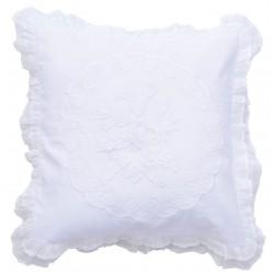 Coussin blanc 45 x 45 cm en lin et coton de la collection Bleuet