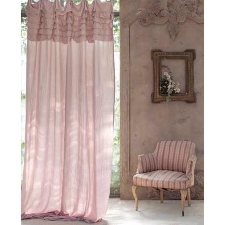 Rideau Etrna rose avec volant 150 x 290 cm