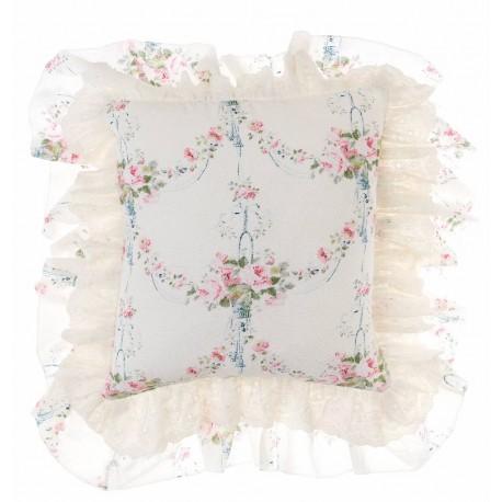 Ruffled cushion Ivory Romantic atmosphere 45 X 45 cm