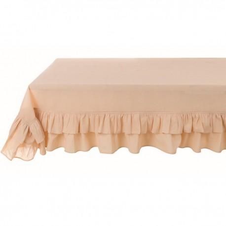 "Tablecloth with 2 ruffles ""Frill Sabbia"" sable 220 x 260 cm"