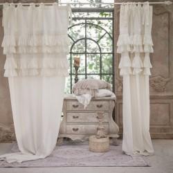 """Rideau """"Tiepolo"""" blanc avec volants et à nouettes 140 x 290 cm"""