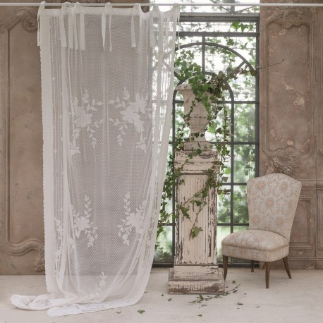 """White """"Incisione"""" curtain embroidered 140 x 290 cm with knots"""