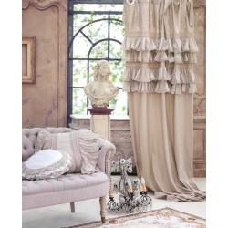 """Rideau """"Tiepolo"""" naturel avec volants et à nouettes 140 x 290 cm"""
