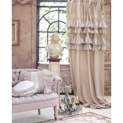 """""""Tiepolo"""" natural curtain with ruffles and ties 140 x 290 cm"""