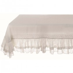 """White tablecloth with 2 ruffles """"Tiepolo"""" 150 x 150 cm"""