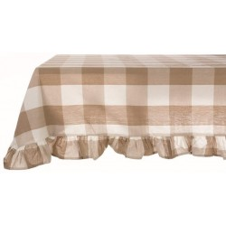 Beige tablecloth with large checks 150 x 240 cm with 10 cm frill