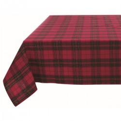 Nappe rouge à carreaux Scottish Lurex 140 x 180 cm en coton