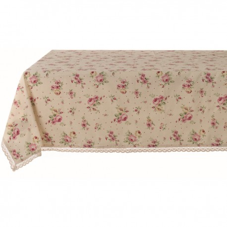 Desdemona floral tablecloth 150 x 240 cm with small lace flounce