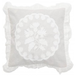 White linen and cotton cushion 45 x 45 cm from the Bleuet collection