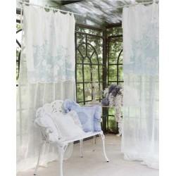 Rideau Clotilde en lin blanc avec cantonnière 140 x 290 et nouettes
