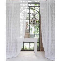 Rideau brodé Intarsio blanc a passants 150 x 300 + 10 cm