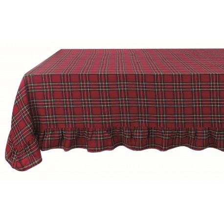 Tablecloth Tartan 160 x 280 cm with frill 10 cm