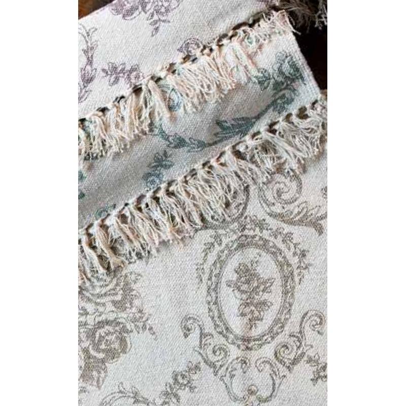 Tapis toile de jouy vert par blanc mariclo sur - Toile a canevas pour tapis ...