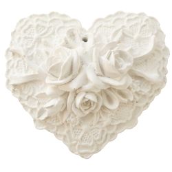 White lace heart and perfume