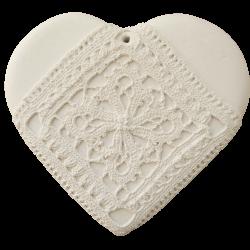 Cœur guipure blanc brut à parfumer