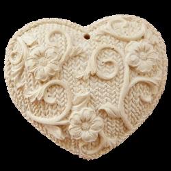 Cœur tricoté à parfumer miel