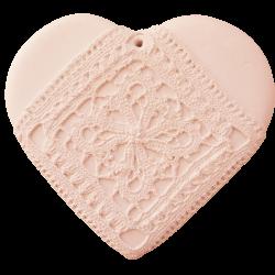 Cœur guipure rose tendre brut à parfumer