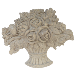 Grand panier de fleurs patiné gris