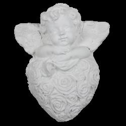 Ange sur cœur fleuri à parfumer blanc brut