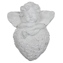 Angel on floral heart to flavor raw white