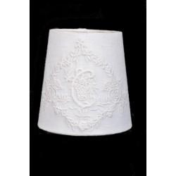 Round Lampshade C Fleurs ivoire - Diam 25 cm