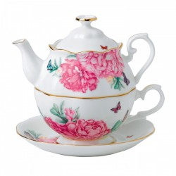 Tasse à thé Polka Blue avec sous-tasse assortie