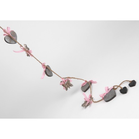 Heart and pink bird suspension